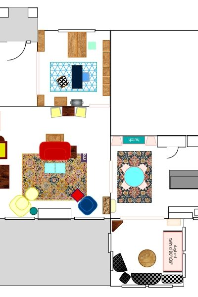 Color Filled Cottage Floor Plan