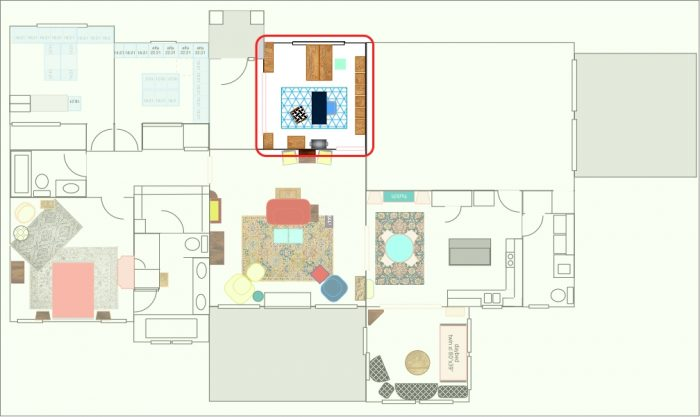 Color Filled Cottage Floor Plan Isolated Office