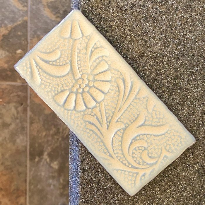 Pergamon tile on counter with floor below